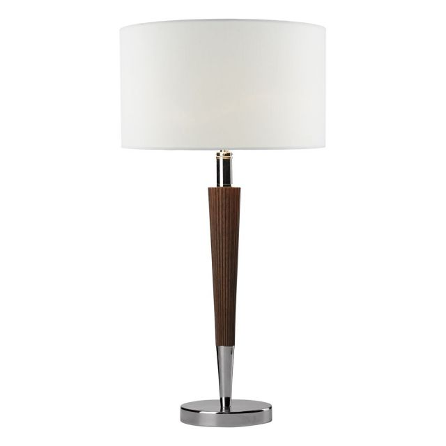 Dar VIK4081 Viking Table Lamp With Wooden Base And White Linen Shade
