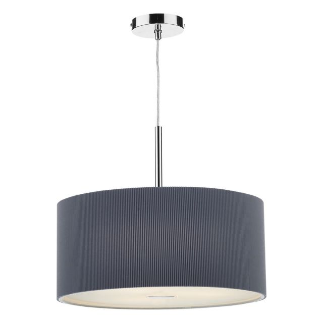 Dar ZAR1739 Zaragoza 60cm Grey 3 Light Modern Pendant Light